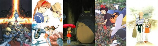 Nausicaä, Laputa, Totoro, Kiki y Only Yesterday
